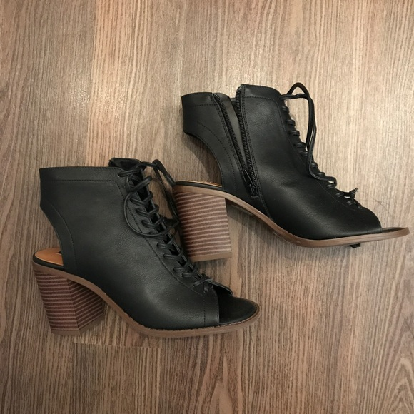 Faux Leather Cutout Ankle Boots